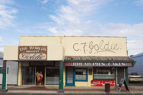Goldie's bakery capitalises on the notoriety of Karl Sim, who forged Goldie paintings while operating a wine and antiques business from these premises. Today, copies of his masterpieces adorn the walls of the shop while bakers, including co-owner Tony Scott (foreground), labour out the back.