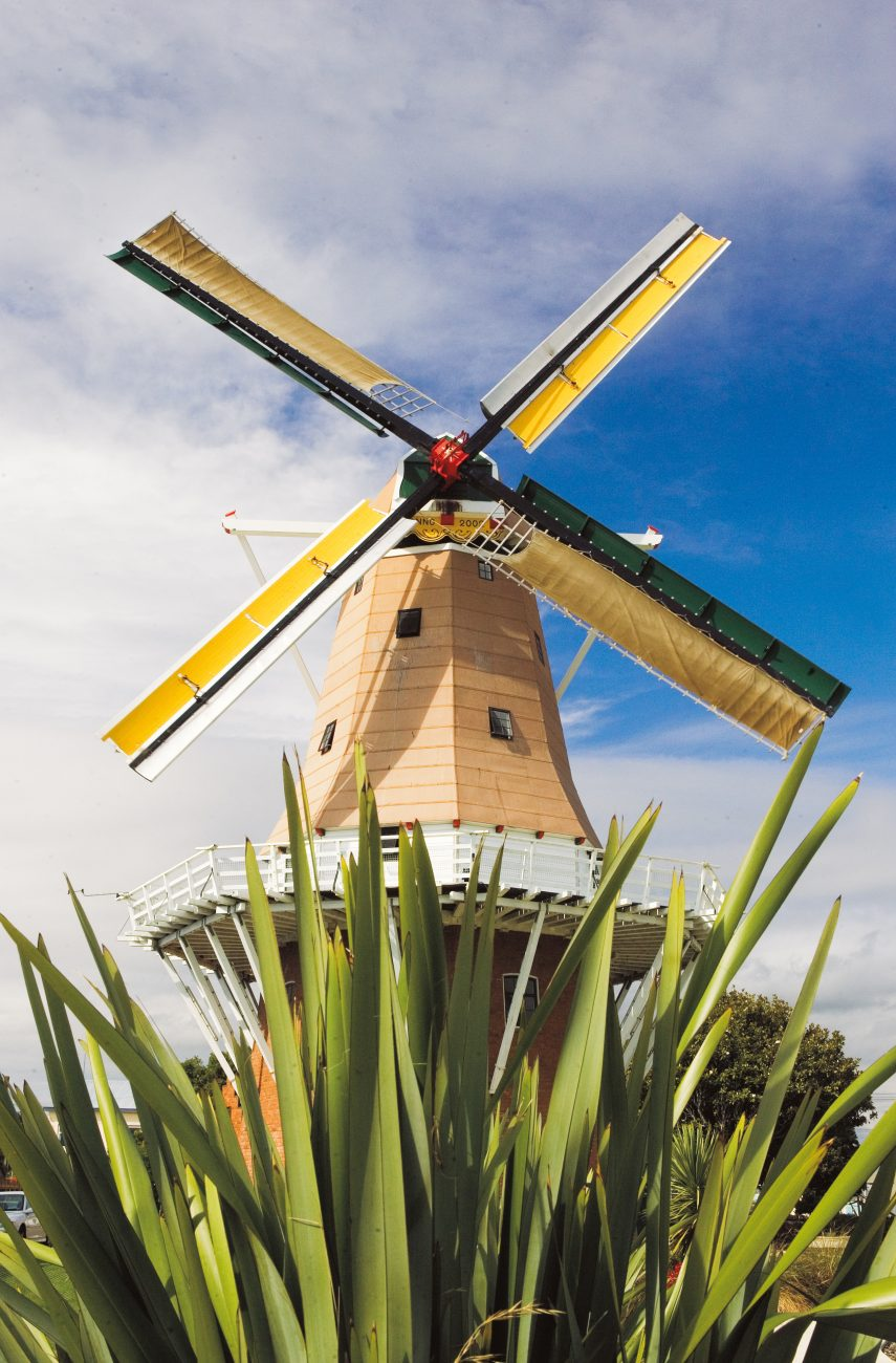 The windmill—named de Molen—is a working replica of a classic Dutch windmill and grinds grain into flour using wind-powered grindstones.