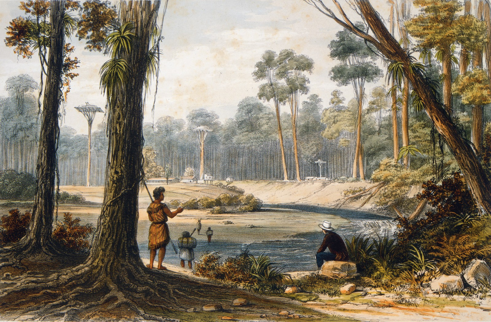 """Four years before he signed on as draughtsman for the Beagle voyage, London-born travel artist Augustus Earle lived and painted in Northland. He sketched this scene, depicting legendary Nga Puhi chief Patuone's """"country residence"""", during a journey in 1827 from the Hokianga Harbour to the Bay of Islands, through thick kauri forest. Earle described being """"kindly entertained by the chief"""", and noted that Patuone's crops of kumara and maize """"arrived at a perfection never before witnessed"""". Darwin, by contrast, was uncomplimentary about Maori life."""