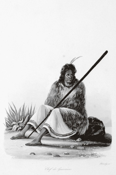"""Edmund Paris, artist on board French navigator Cyrille Laplace's Pacific expedition, romanticised the Maori he drew during his stay in the Bay of Islands in 1831. His """"jeune fille"""" is alluringly déshabillé while his """"chef de guerriers"""" looks uncharacteristically pensive. Darwin, following in the wake of La Favorite four years later, considered that Maori would be the losers in the social struggle for existence with immigrant Europeans."""
