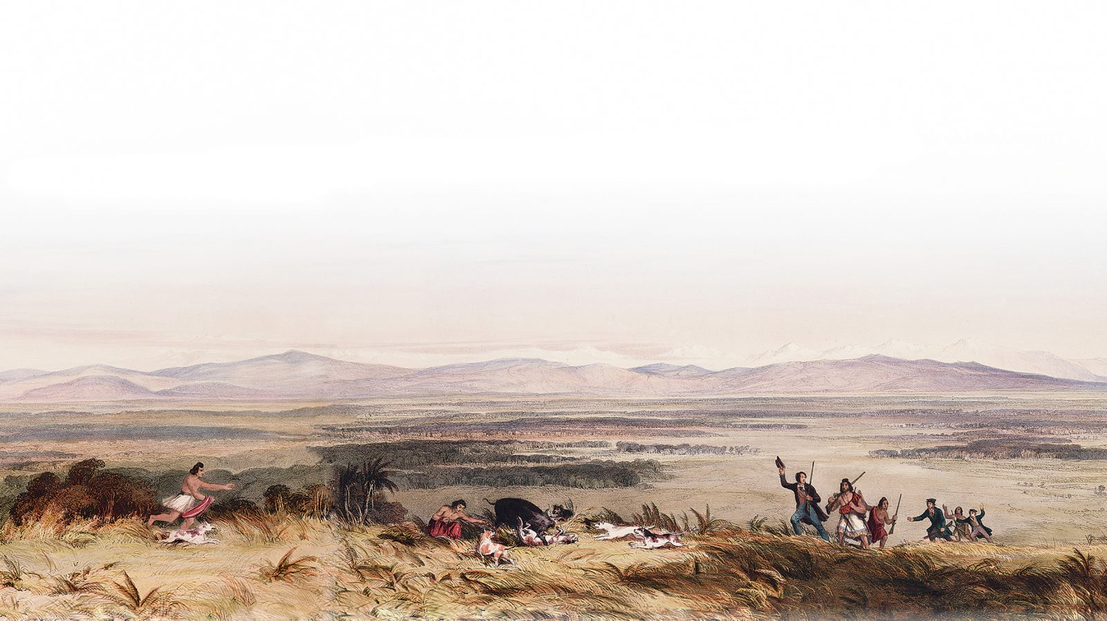 Drawn in 1843 by Samuel Charles Brees (Chief Surveyor to the New Zealand Company which undertook settlement of the Wellington region), this pioneering image of first settlement is the earliest depiction of the Ruamahanga plains. The presence of a European female some 150 years earlier would have been unfathomable.
