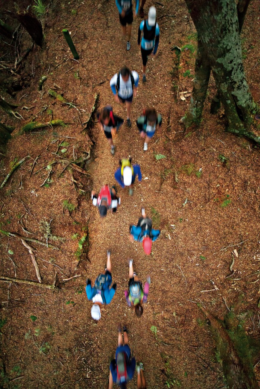 The great appeal of trail running is the scenic quality of the tracks. Here, participants stream through beech forest along a riverside section of the Kepler Challenge, an event which has become so popular that entries are snapped up within hours of becoming available.