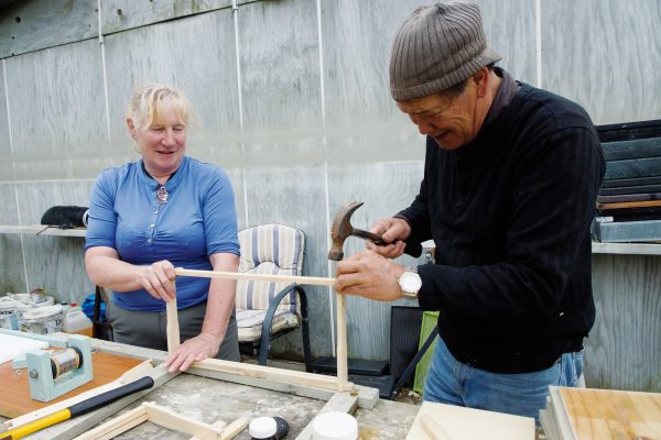 Michele Andersen and Mana Cracknell built their Kaingaroa apiary from scratch, manufacturing 100 hives with kitset frames on which the bees form honeycomb. One of the hives is looked after by local school children for whom beekeeping is a major project.