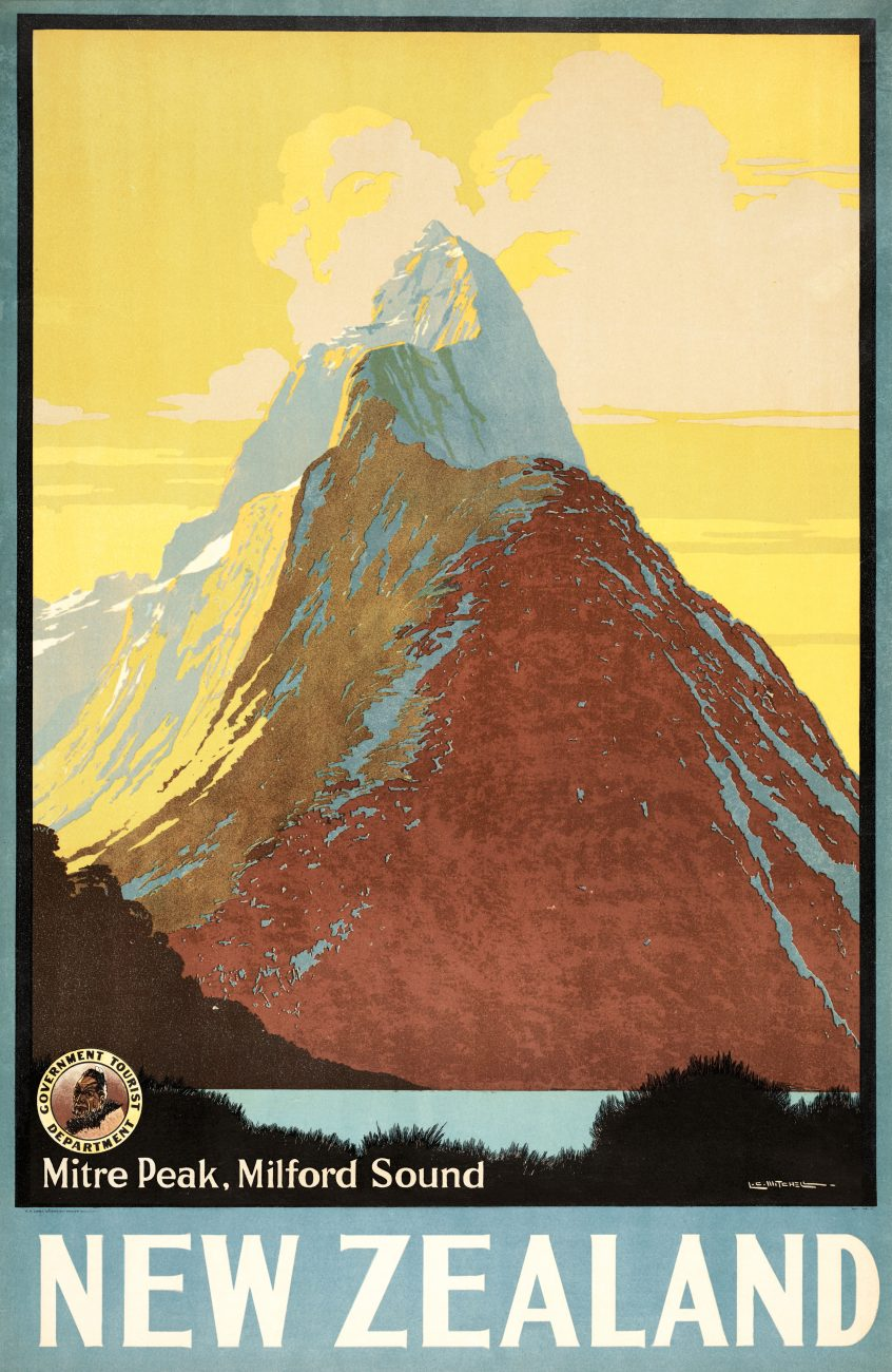 Fifty years on, images produced by commercial artists for government tourist brochures and posters were playing this role. Lithographs by prolific graphic designer and painter Leonard C. Mitchell.
