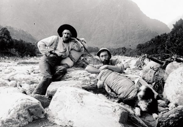 Arthur P. Harper personified this evolution (on right). He fell in love with climbing in Europe, but returned home and became more drawn to exploration. Between 1893 and 1895 he assisted veteran explorer Charlie Douglas in surveying remote areas of the West Coast, such as the Cook River, where they are pictured in 1894.