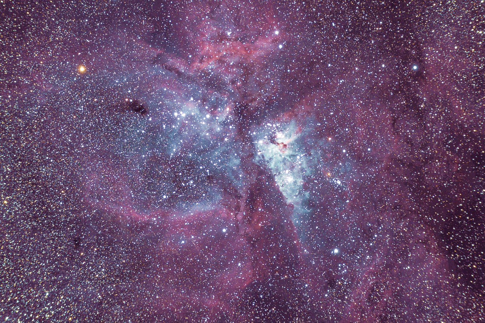 Eta Carinae may be about to explode, for the second time. Around 150 years ago, it underwent an unusual outburst, making it one of the brightest stars in the night sky and releasing plumes of gas and debris to create a magnificent red nebula—perhaps the forerunner of a complete supernova event. Despite being some 7500 light years distant from Earth, it's bright enough to be seen with the naked eye.