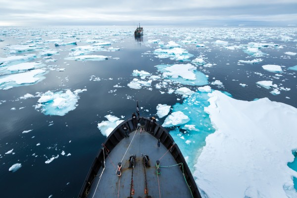 The Barker, foreground, drives the Thunder away from Antarctic waters on the second day of a chase that would ultimately last nearly four months, by far the longest in anti-poaching history.