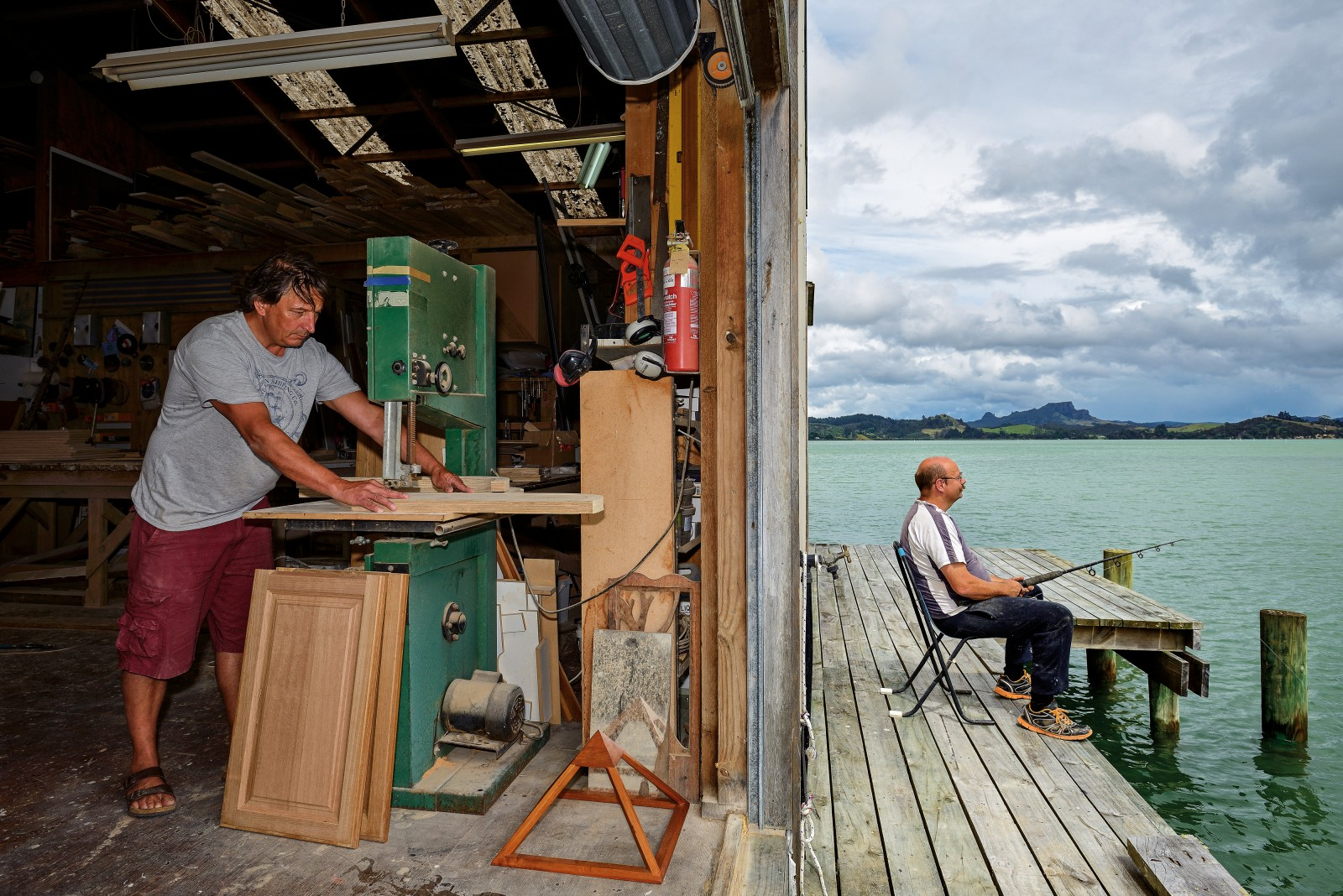 """Sorry, he's on the other line"" would be a phrase well suited to workers at Joachim Kupiec's joinery company on the shores of Whangaroa Harbour, where John Argent dangles a bait during his lunch break while the boss works on. Kupiec has an interest in the healing properties of pyramids, and has built many kitset versions and (so far) one full-size model—his home."