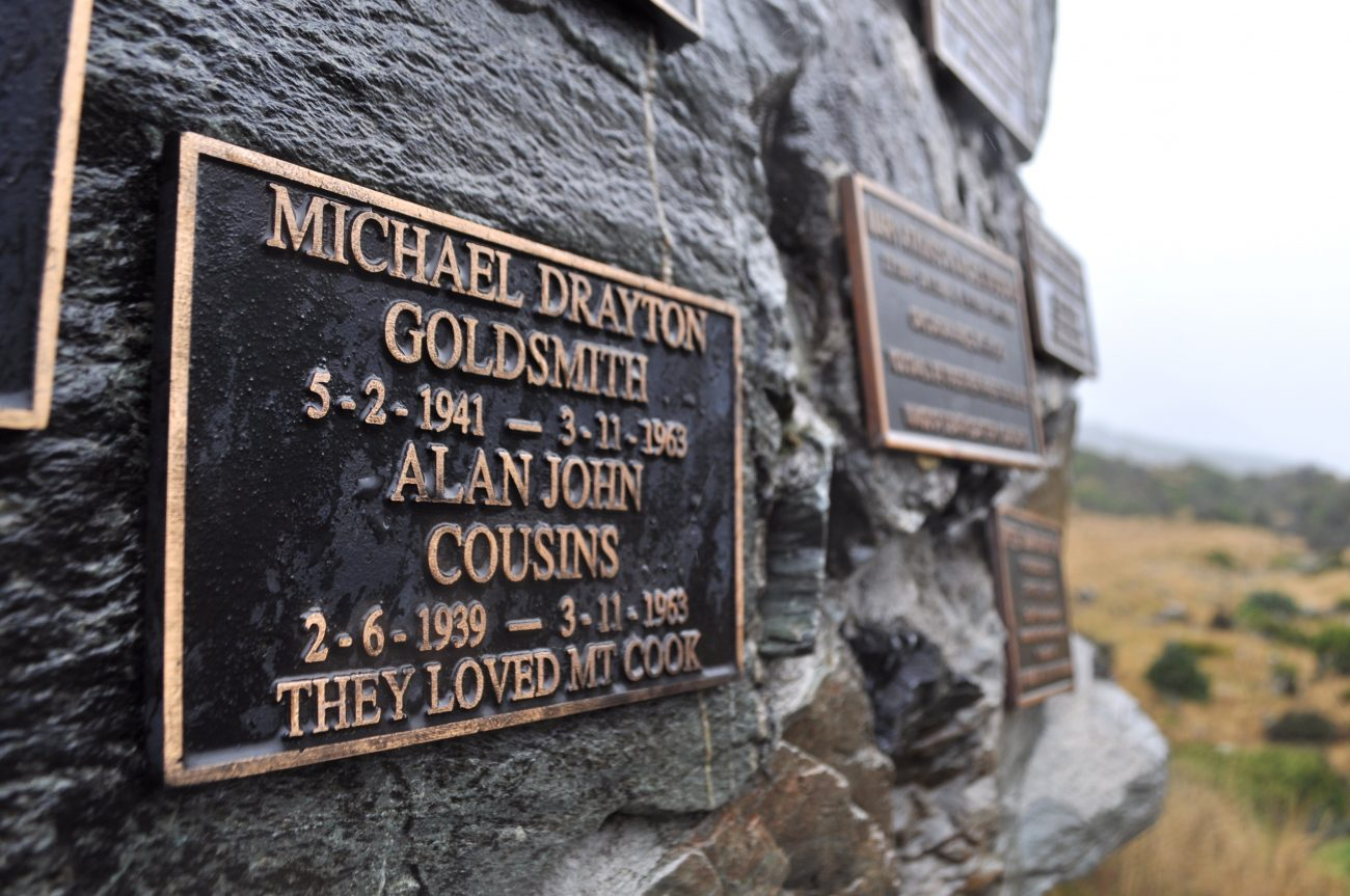 A plaque commemorates Alan Cousins and Michael Goldsmith on the climbers' memorial at Mt Cook.