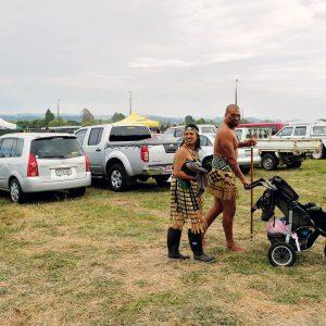 Members of the Ngati Haka Patuheuheu kapa haka team head home following their performance at the bi-annual Easter 2013 Tūhoe Ahurei festival at Ruatoki, now into its 41st year.