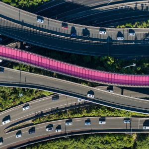 A disused motorway off-ramp in central Auckland was repurposed as a bright magenta cycle path and walkway—a flamboyant symbol of the city's desire to become more sustainable. Alastair Jamieson had only moments to capture the shot from a helicopter, as the pilot angled the craft for a look straight down on the motorway below.