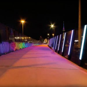 Afternoon turns to night on Auckland's Lightpath, a disused motorway offramp turned into a colourful road for bicycles and pedestrians. To create this hyperlapse, Steven Harrison moved his camera incrementally down the pink walkway, timing his three-hour journey to coincide with the sunset at the end of the road.