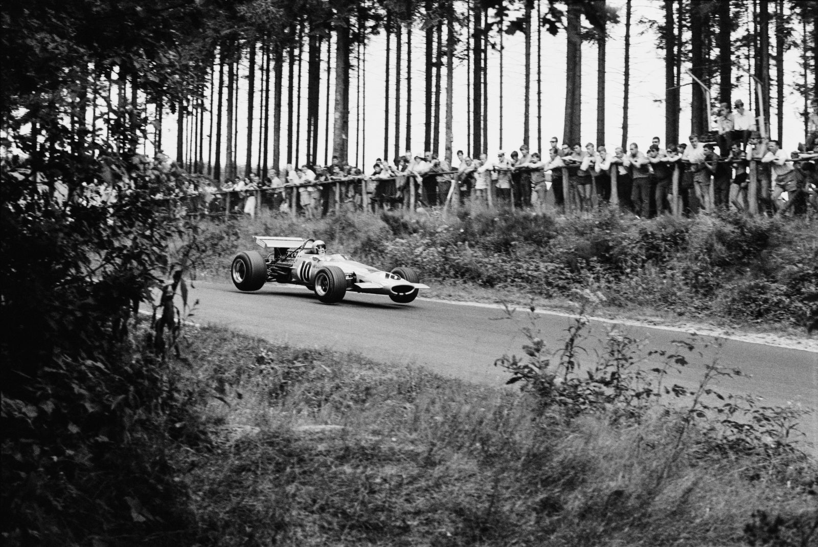 During the 1958 German Grand Prix, the field was opened to Formula Two as well as Formula One cars. Twenty-year-old Bruce McLaren, racing for Cooper-Climax, was the first Formula Two car across the line at the Nürburgring, and was subsequently promoted to Formula One racing. Within a decade, he was driving his own cars at the Nürburgring—such as the M7C, pictured, which he raced in 1969 to take third place.